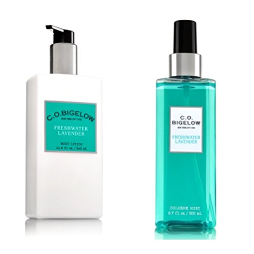 C.O. BIGELOW - Bath & Body Works GIFT SET- New scent collection of unisex fragrance,FRESHWATER LAVENDER,11.6 oz. body lotion,6.7 oz.Mist fragrance - Freshwaters Fragrance