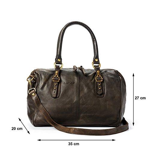 Ira del Valle Borsa Donna, In Vera Pelle Vintage, Made in Italy, Modello Cordoba Bag, Borsa Grande a Mano e Spalla con Tracolla da Donna Ragazza Marrone