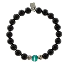 EvaDane Natural Semi Precious Black Onyx Gemstone Rope Bead Green Stripe Jade Charm Stretch Bracelet
