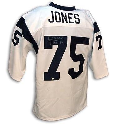 Autographed Deacon Jones White Throwback Rams Jersey -APE COA