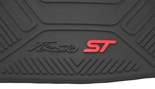 Oem Factory Stock Genuine 2014 2015 Ford Fiesta ST Black Ebony & Red Rubber All Weather Floor Mats Set 4-pc Front & Rear by Ford (Image #1)