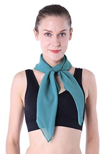 (Green Neck Scarf Turquiose Blue Scarf 50s)