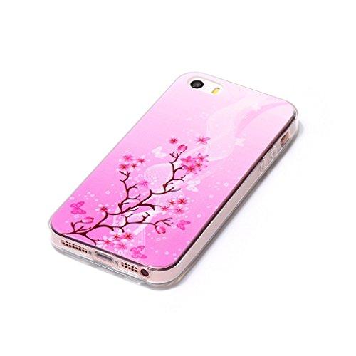 iPhone 5 / 5S / SE Hülle , Leiai Mode Rose Wolke TPU Weich Transparent Schmetterling Baum Tasche Schutzhülle Silikon Handyhülle Stoßdämpfende Schale Case Shell für Apple iPhone 5 / 5S SE