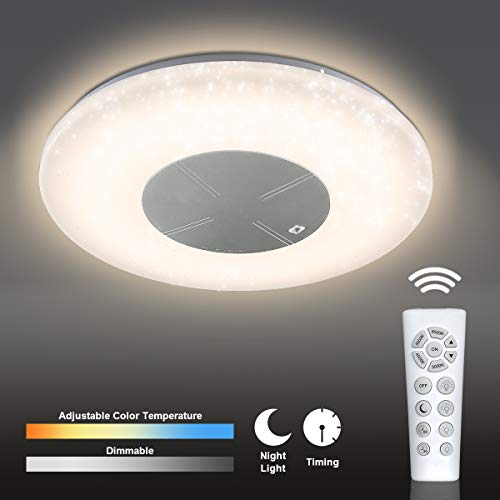 (CORSO 18'' LED Starlight Ceiling Light Fixture with Remote Control, 48W 3500 LM, Flush Mount Chandelier with Stepless Dimmable & Color Adjustable Smart Timer and Night Light for Living Bed Dining Room)
