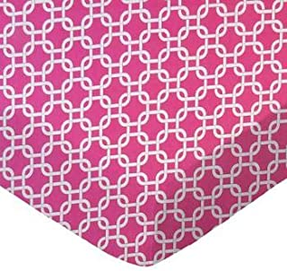 product image for SheetWorld 100% Cotton Percale Flat Crib Toddler Sheet 28 x 52, Hot Pink Links, Made in USA