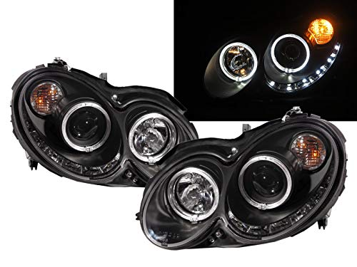 - CABI W209/C209/A209 CLK-CLASS 2003 2009 - - Convertible Coupe 2D Guide LED Angel-Eye Projector Headlight Headlamp Black for Mercedes-Benz LHD
