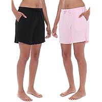 Noble Mount Women's Cozy Rib Lounge Shorts - 2 Pack