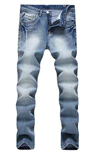 Men's Light Grey Vintage Elastic Washed Regular Slim Fit Jeans Outfit Pants A W31