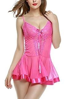a58c5137f91670 Yoliki Nachtkleid Sexy Negligee Transparent Babydoll Damen Reizwäsche mit G- String Spitze Lingerie Erotik Dessous
