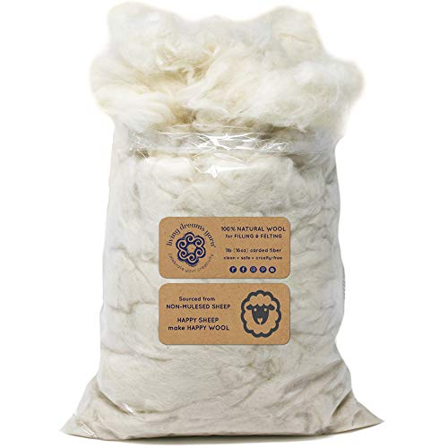 SUPER CLEAN WOOL FILLER for Stuffing, Needle Felting, Blending and Dryer Balls - 1 LB Bag, Natural White