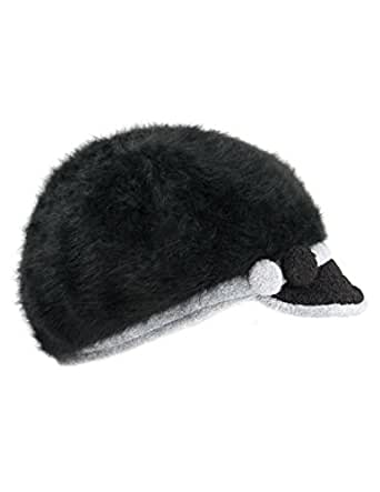 Dahlia Women's Angora Newsboy Cap Hat - Button Accent - Dual Layer Black