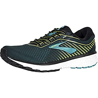 Brooks Mens Ghost 12 Running Shoe - Black/Lime/Blue Grass - B - 12.5