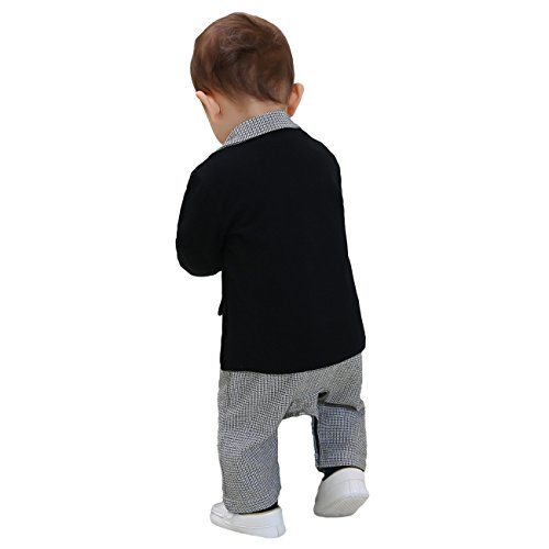 ZOEREA Baby Boy Suit Formal Party Baptism Tuxedo Outfit Jacket and Romper