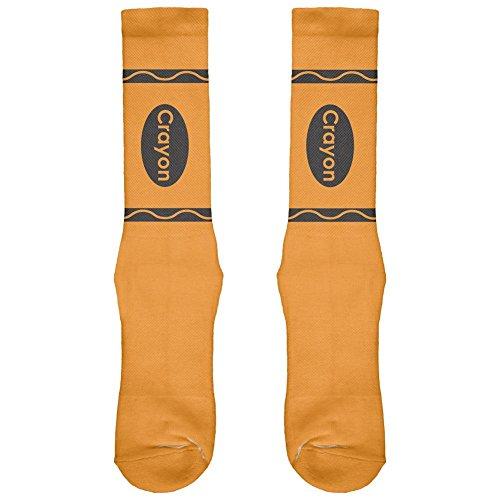 Halloween Crayon Orange All Over Crew Socks - Boys/Men 9-11 (Crayon Socks)