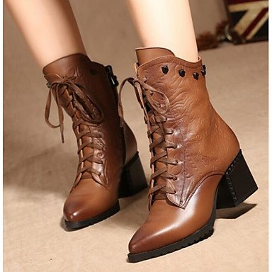 Fashion Shoes Women'S For Cowhide Casual US8 Fall Boots UK6 Black Winter EU39 Boots Brown RTRY CN39 wqXg5Rxg