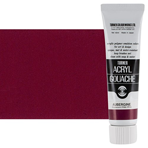 - Turner Colour Works Acryl Gouache Artist Acrylic Paint - Single 40 ml Tube - Aubergine