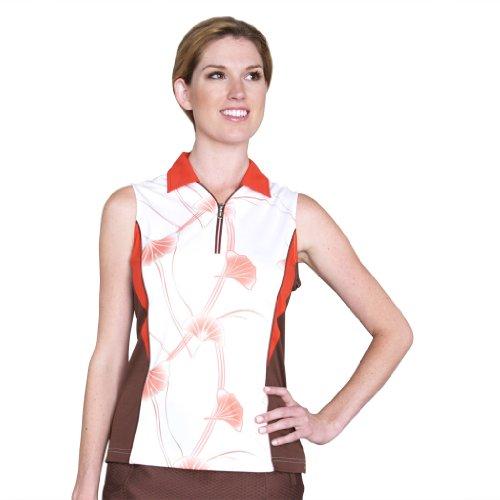 Monterey Club Ladies' Dry Swing Floral Print Short Colorblock Shirt #2515 (White/FireBrick,Medium)