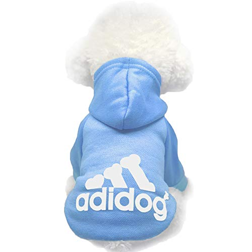 Moolecole Adidog Pet Dog Hooded Clothes Apparel Puppy Cat Warm Hoodies Coat Sweater for Small Dogs(M, Light Blue)