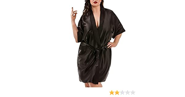 4254b967a8d Mikkar Women Lingerie Sleepwear Bride Robe Satin Dressing Gown Plus Size  Sale at Amazon Women s Clothing store