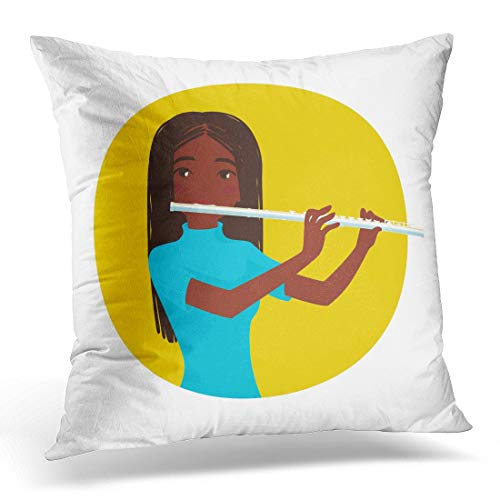 menghui Throw Pillow Cover Musician Playing Flute Girl Flutist is Inspired to Play Classical Musical Instrument Colorful in Cartoon Decorative Pillow Case Home Decor Square 18
