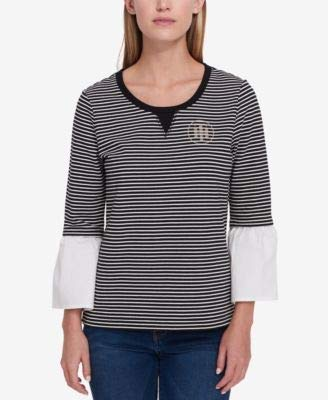 s Striped Embellished Blouse B/W L ()