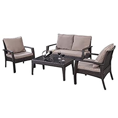 TANGKULA 4 Piece Patio Furniture Outdoor Patio Deck Lawn Poolside Wicker Rattan Steel Frame Sectional Conversation Sofa Set Glass Top Coffee Tea Table and Chairs Set with Removable Cushions