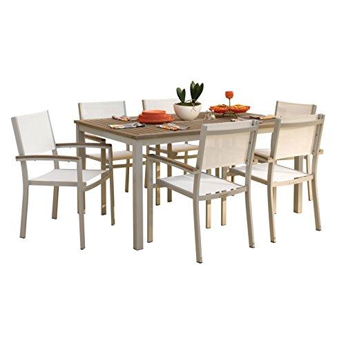 Oxford Garden 7 Piece Travira Powder Coated Aluminum with Vintage Tekwood & Natural Seats Dining Set