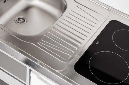 Brandneu Mebasa MK0011S Schrankküche, Miniküche, Single Küche in Silber  CJ99