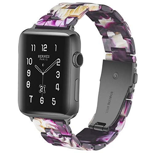 LINKWOW Compatible with Apple Watch Band Flash Purple 42mm 44mm Ladies and Men Fashion Resin Watch Band with Stainless Steel Rose Gold Clasp Suitable for Apple Watch Series4 Series3 Series2 Series1.