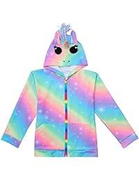3D Rainbow Unicorn Hoodies Jacket for Girls Cartoon Costumes Sweatshirt