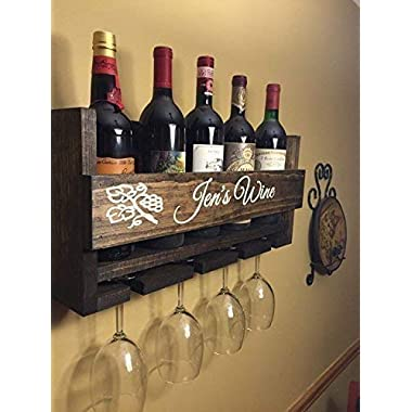 Custom Name Personalized Wine Rack Engraved Carved Custom Rustic 6 Bottle Wall Mount Wine Rack with 4 Glass Slot Holder, Wall Decor, Primitive, Handmade, Vintage