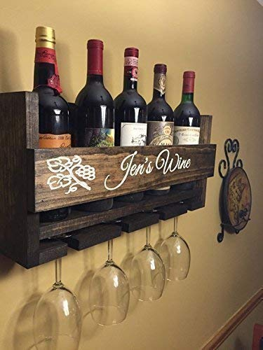 Custom Name Personalized Wine Rack Engraved Carved Custom Rustic 6 Bottle Wall Mount Wine Rack with 4 Glass Slot Holder, Wall Decor, Primitive, Handmade, -