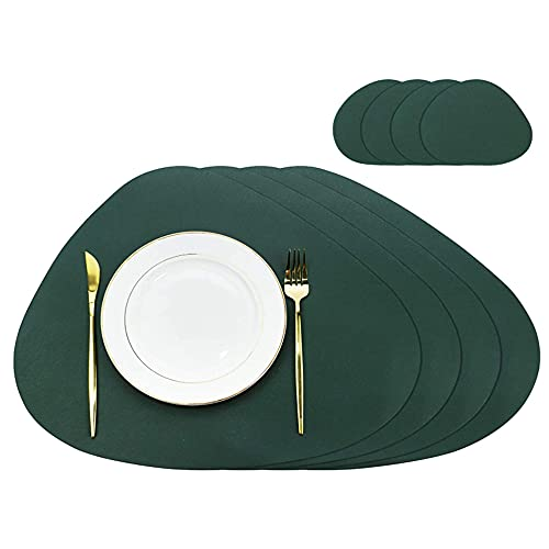 """SET of 8 PU Leather Placemats and Coasters Set, 4 Placemats 17.7""""x15"""" and 4 Coasters 5.1""""x 4"""", Non-Slip Waterproof…"""