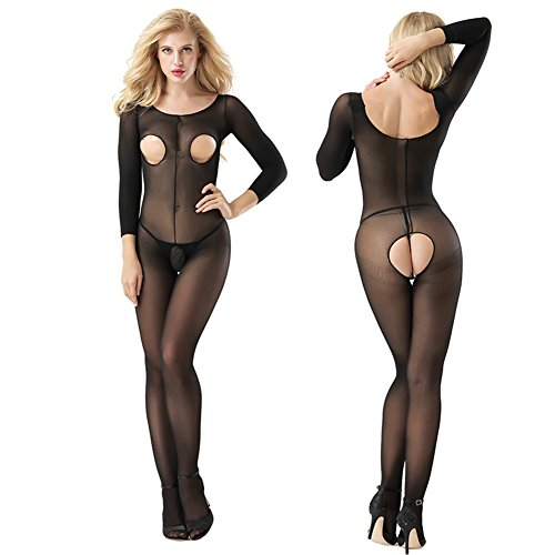 (Sexy Underwear,dezirZJjx See-Through Crotchless Bodystocking Bust Hip Cutout Bodysuit Lady Sexy Sleepwear - Black One)