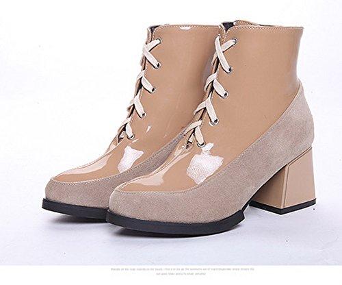 Ladies Color AdeeSu Beige Thick Toe Comfort Heel Imitated Boots Round Matching Leather Bottom dgwwqU5
