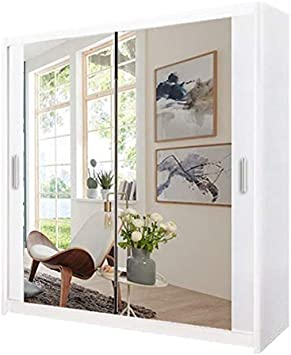 A.C Milan Modern Bedroom Mirror Sliding Wardrobe With 2 LED Light Width 100cm//120cm//150cm//180cm//203cm//250cm 120cm, Grey