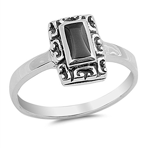 Rectangle Fashion Ring New .925 Sterling Silver Band Size 9 ()
