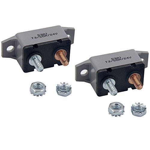 ZOOKOTO 2pcs 12-24V 50 Amp ATV Resettable Circuit Breaker Fuse holder - Plastic Amp Circuit Breaker