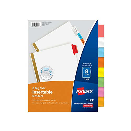 Avery Big Tab Insertable Dividers, 8 Multicolor Tabs, 1 Set (Tabbed Index)