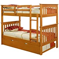 Bunk Bed Twin over Twin Mission style in Honey with Twin Trundle