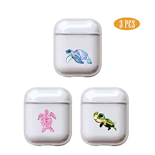 Turtle 3 Pcs Clear Hard Plastic Case Full Protective Cover Skin Compatible with AirPods 2 & 1