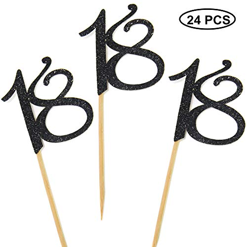 24 PCS 18th Cupcake Toppers - Anniversary or Birthday Cupcake Picks Party Decoration | Black 18th