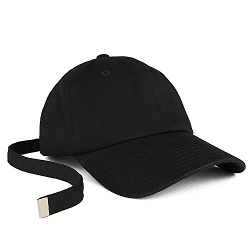 Baseball Cap Adjustable Strap - Trendy Apparel Shop Long Tail Strap Unstructured Adjustable Dad Hat - Black