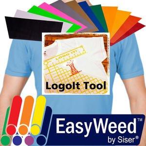 "SISER EasyWeed Heat Transfer Vinyl, 12 x 15"" 12-Color BUNDLE + BONUS Heat Transfer Alignment Tool"