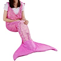 LANGRIA Soft Flannel Mermaid Tail Blanket for Adults...