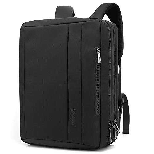 Convertible Computer Briefcase - CoolBELL 17.3 inches Convertible Laptop Messenger Bag Oxford Cloth Shoulder Bag Backpack Multi-Functional Briefcase for Laptop/MacBook/Tablet Men/Women (Black)