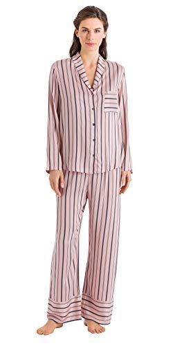 (HANRO Women's Malie Woven Long Pant 76498, Tender Apricot Stripe, Large)