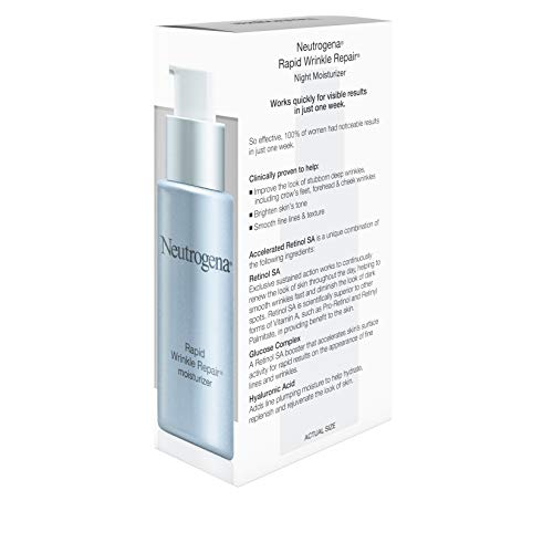41QFi8FcAgL - Neutrogena Rapid Wrinkle Repair Accelerated Hyaluronic Acid Retinol Night Cream Face Moisturizer, Anti Wrinkle Face Cream & Neck Cream with Hyaluronic Acid, Retinol & Glycerin, 1 fl. oz