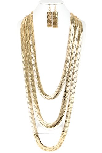CN0152 WOMEN'S FASHIONABLE 3-LAYERED FLAT MESHED CHAIN LONG NECKLACE AND EARRINGS SET (GOLD) (Layered Link)