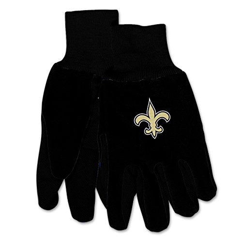 Wincraft NFL New Orleans Saints Mechanical/Gardening/Work/Utility Glove with 3D Logo ... (Black on Black)